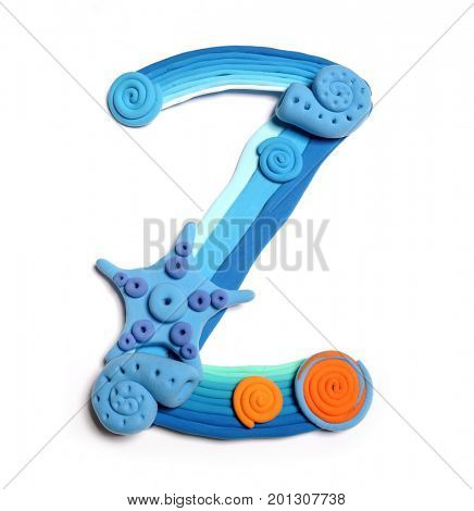 Plasticine letter Z. Color plasticine alphabet, isolated. Blue and orange color of the alphabet