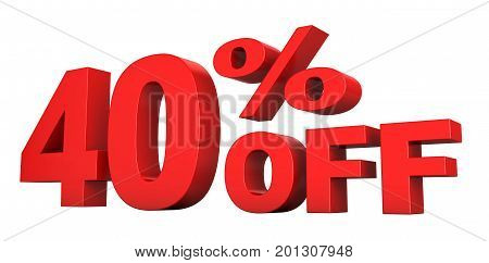 3d render of 40 percent off sale text isolated over white background