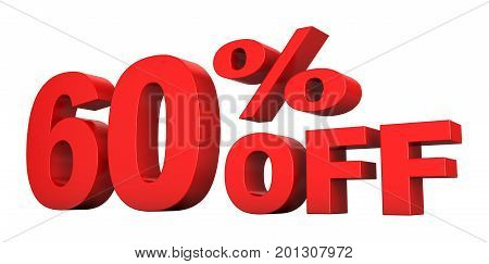 3d render of 60 percent off sale text isolated over white background