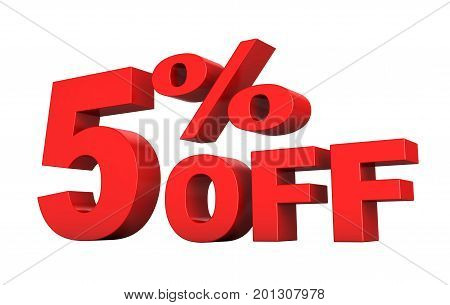 3d render of 5 percent off sale text isolated over white background