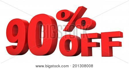 3d render of 90 percent off sale text isolated over white background