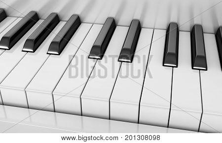 3d render of close up piano keys
