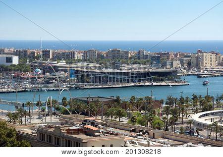 Barcelona Spain - July 28 2016: View from Barcelona harbor Spain.