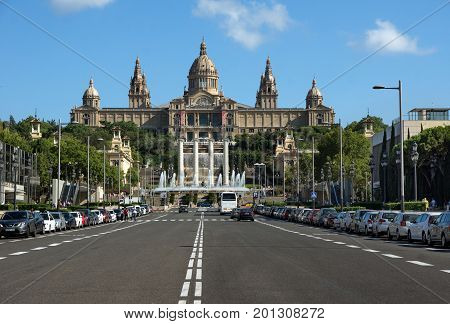 Barcelona Spain - July 28 2016: National Museum in Barcelona and Montjuic columns Spain.