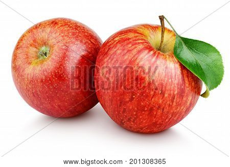 Red Apples With Leaf Isolated On White