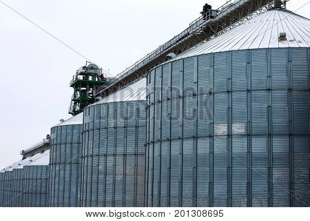 Metal Grain Elevator In Agricultural Zone. Agricultural Silos. Building Exterior. Storage And Drying