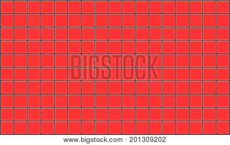 3d render of red tiles texture with black gap