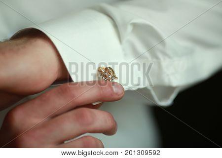 Original beautiful cufflinks groom in the form of a crown
