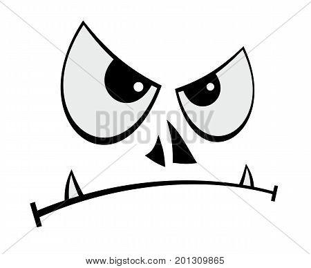 Cartoon vector illustration of humorous evil face