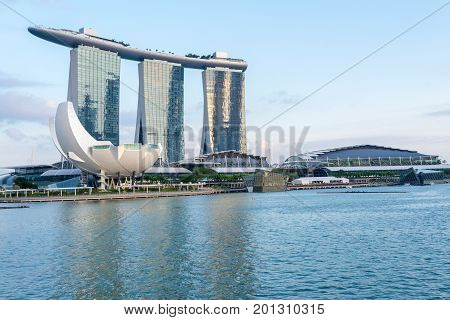 Singapore, Singapore - August 12, 2017: View at the Marina Bay in Singapore at day, which is the iconic landmarks of Singapore.