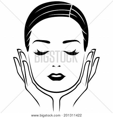 Head of woman with closed eyes and with careful hands lifestyle concept vector illustration