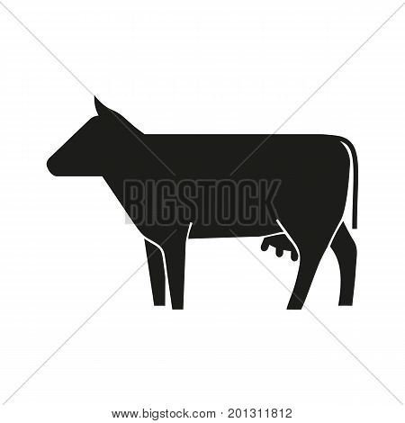 Icon of cow silhouette. Livestock, beef, cattle. Domestic animal concept. Can be used for topics like market, farm, dairy products