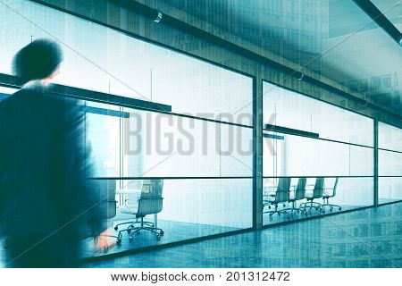 Company lobby interior with white and glass walls conference rooms with white chairs and tables and posters. Businessman 3d rendering mock up toned image double exposure