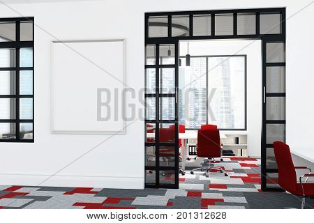 White And Red Office Lobby, Poster