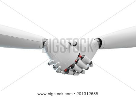 Two White Robots Shaking Hands, White