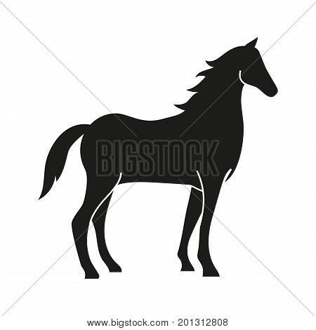 Icon of horse silhouette. Stallion, livestock, mascot. Domestic animal concept. Can be used for topics like mammal, farm, veterinary