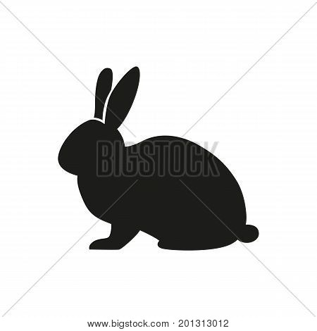 Icon of rabbit silhouette. Rodent, hare, bunny. Domestic animal concept. Can be used for topics like Easter, farm, veterinary