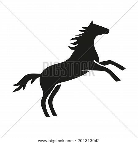 Icon of horse rearing. Stallion, mustang, freedom. Domestic animal concept. Can be used for topics like livestock, farm, veterinary