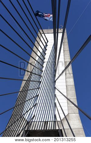 The one of two towers of cable-stayed Anzac Bridge in Sidney (New South Wales).