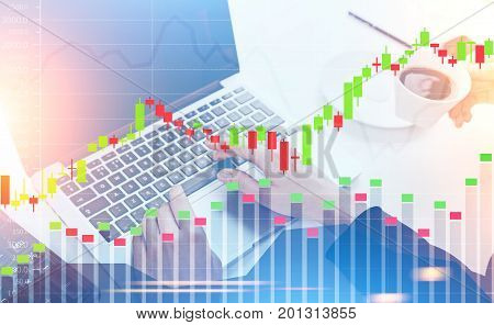 Close up of businesswoman s hands typing on her laptop keyboard while an assistant is fetching coffee. Graphs in the foreground. Toned image double exposure