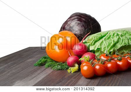 Vegetables On A Table Isolated On A White Background .