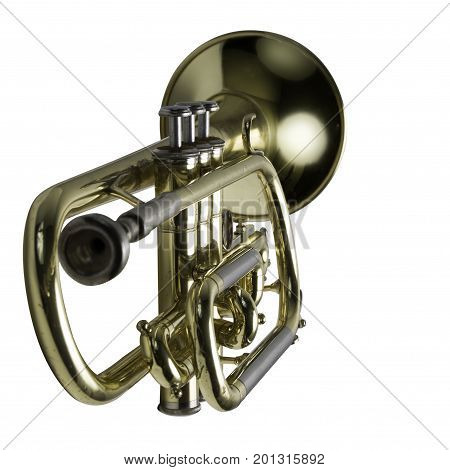 A trumpet with focus on the keys and center isolated.