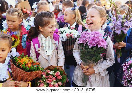 First Grade School Kids On Their First School Day
