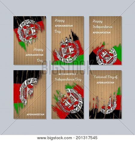 Afghanistan Patriotic Cards For National Day. Expressive Brush Stroke In National Flag Colors On Kra