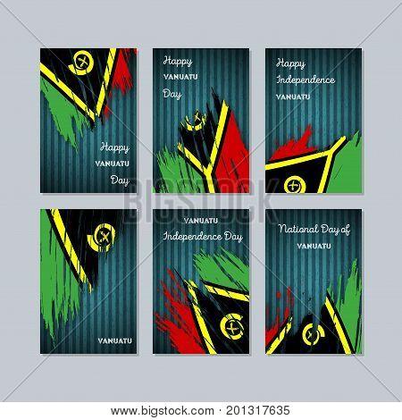 Vanuatu Patriotic Cards For National Day. Expressive Brush Stroke In National Flag Colors On Dark St