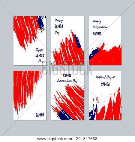 Samoa Patriotic Cards For National Day. Expressive Brush Stroke In National Flag Colors On White Car