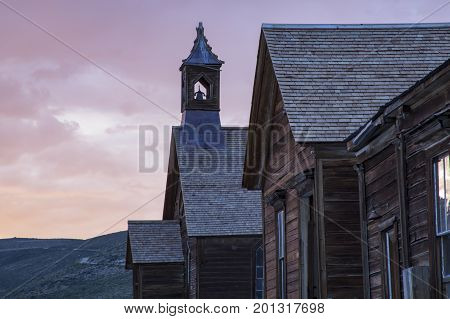 Sunset Over Methodist Church Steeple, Bodie, California