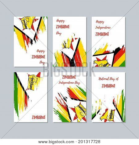 Zimbabwe Patriotic Cards For National Day. Expressive Brush Stroke In National Flag Colors On White