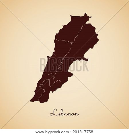 Lebanon Region Map: Retro Style Brown Outline On Old Paper Background. Detailed Map Of Lebanon Regio