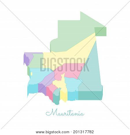 Mauritania Region Map: Colorful Isometric Top View. Detailed Map Of Mauritania Regions. Vector Illus