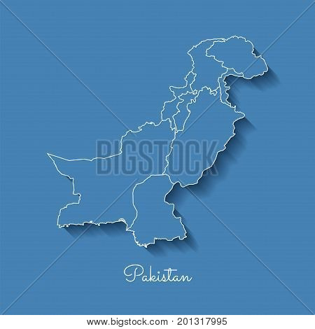 Pakistan Region Map: Blue With White Outline And Shadow On Blue Background. Detailed Map Of Pakistan