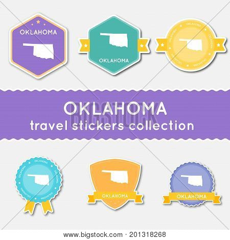 Oklahoma Travel Stickers Collection. Big Set Of Stickers With Us State Map And Name. Flat Material S