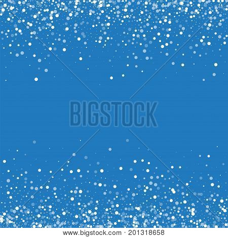 Random Falling White Dots. Scattered Border With Random Falling White Dots On Blue Background. Vecto