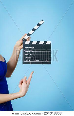 Woman Holding Professional Film Slate