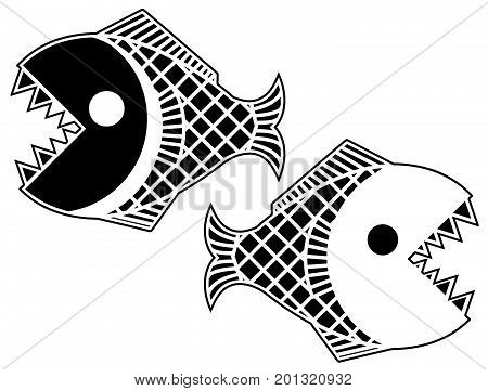 Black piranha stylized stencil, vector illustration, horizontal, isolated