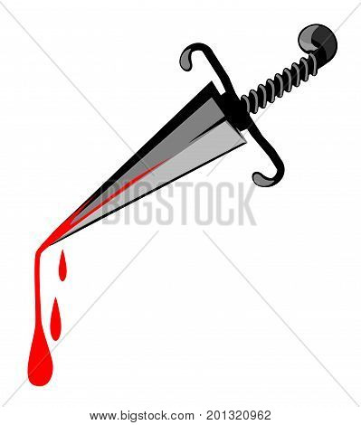 Murder weapon dagger cartoon, horizontal, vector illustration, isolated