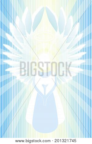 Angel abstract radiating holy light illustration vertical