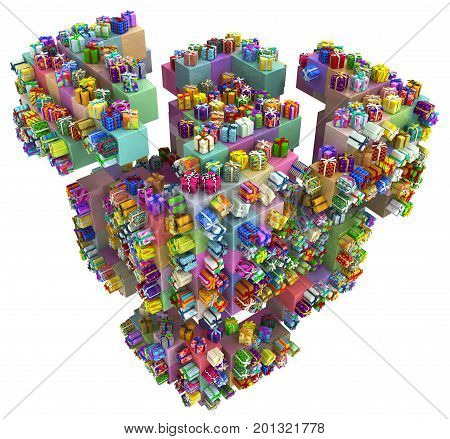 Gift large group cube fragment 3d illustration colorful vertical isolated over white