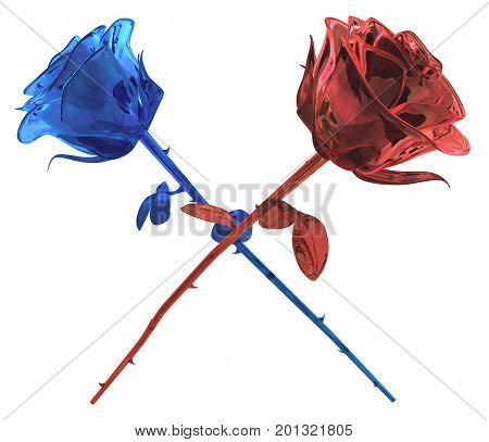 Rose ruby and sapphire precious gem objects crossed isolated 3d illustration horizontal