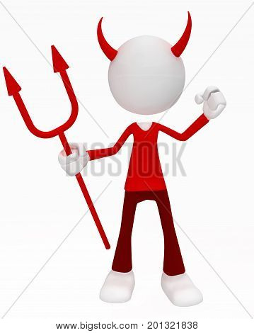 White symbolic figure standing devil costume with pitchfork 3d illustration vertical