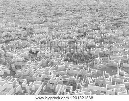 White wall labyrinth endless giant maze surreal 3d illustration horizontal background