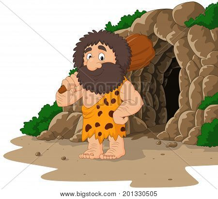 Vector illustration of Cartoon caveman holding club with cave background