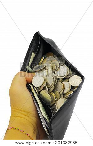 Coin of Money in purse on white background