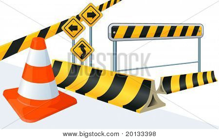 Road construction vector signs.