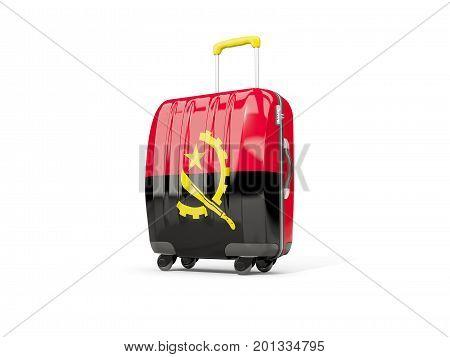 Luggage With Flag Of Angola. Suitcase Isolated On White