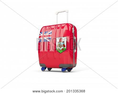 Luggage With Flag Of Bermuda. Suitcase Isolated On White